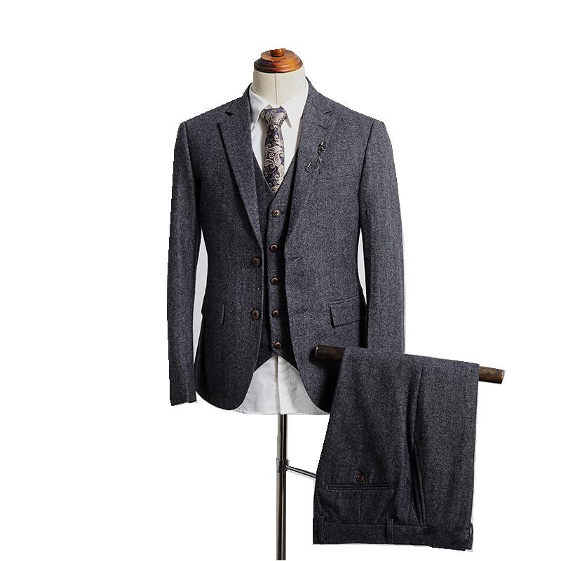 Real Picture Winter Grey Tweed Fabric Man Business Suits Groom Tuxedos Men Party Coat Waistcoat Trousers Sets (Jacket+Vest+Pants+Tie) K54