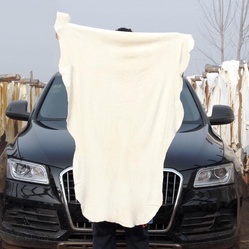 1PC Natural Elastic Shammy Chamois Cuir Cuir Nettoyage Serviettes de nettoyage Séchage irrégulier Soins de lavage Tissu de polissage 50x80cm 65x100cm