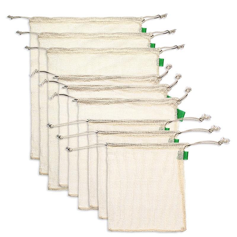 9Pcs Organic Cotton Mesh-Produce Taschen Wiederverwendbare Waschbar Lagerung Tragetasche für das Einkaufen, Lebensmittel, Obst Gemüse