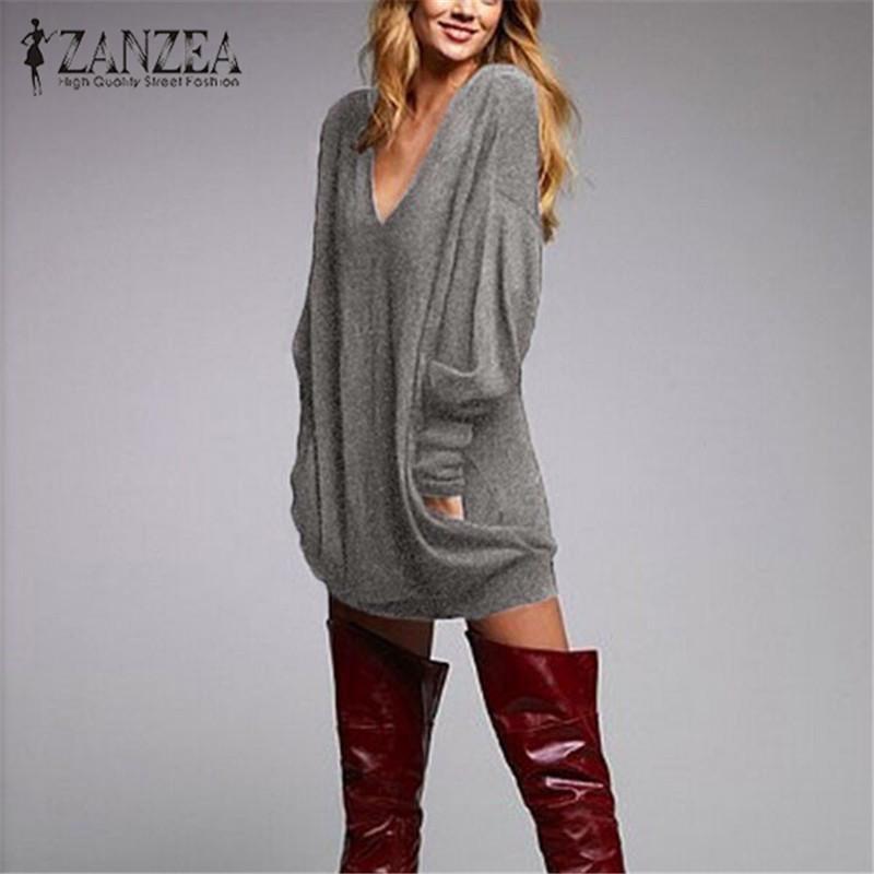ZANZEA 2020 Herbst Frauen lange Bluse Langarm-Shirt Gestrickte Sexy V-Ausschnitt Pullover Casual Tunika Pull Femme Plus Größe S-5XL Y200422