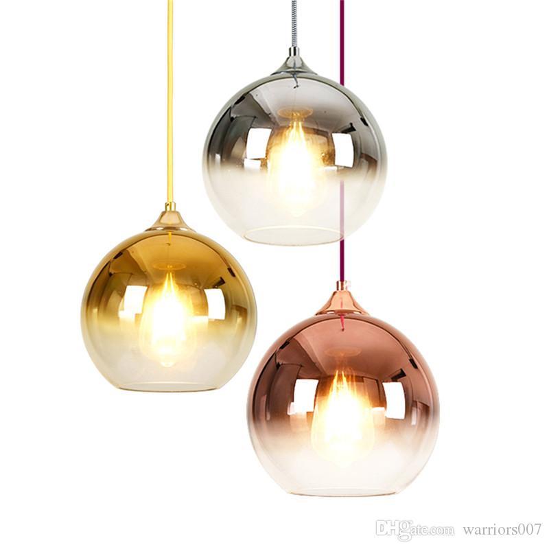 الحديث الزجاج الكرة ضوء قلادة النحاس / Chorme / الذهب مصباح معلق Hanglamp مطبخ ضوء الثابت تناول الطعام غرفة غرفة المعيشة ومينير