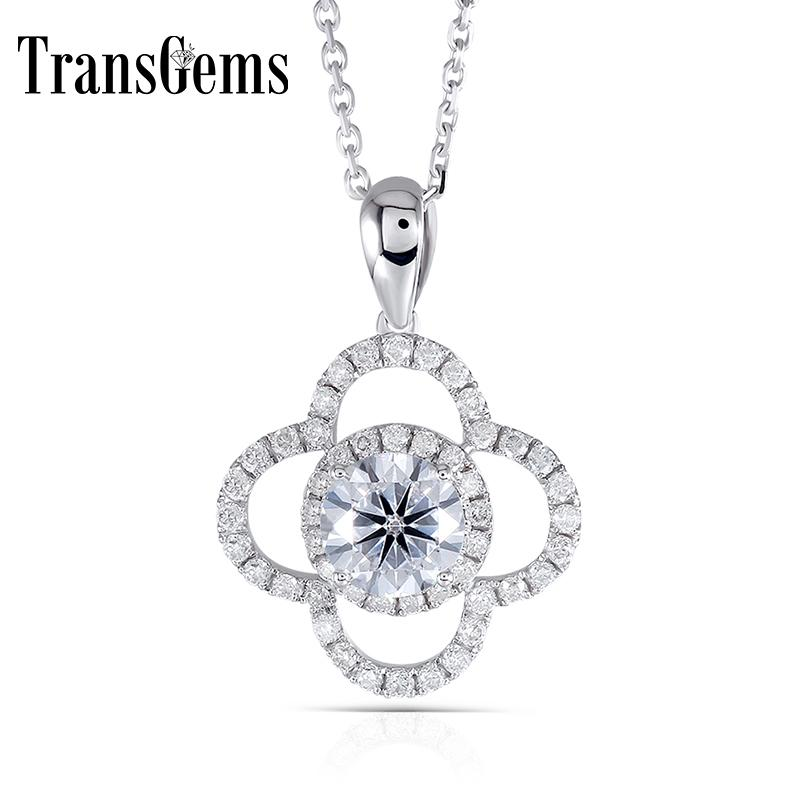 Transgems Snowflower Shaped 14k 585 White Gold Center 1ct 6.5mm F Color Moissanite Slide Halo Pendant Necklace With Accents J 190427