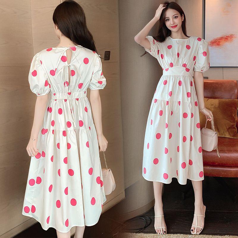 COIGARSAM Polka Dot Women dress New Summer Dresses White 8635