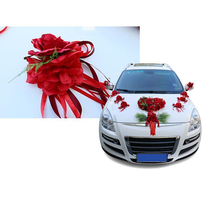 Silk Ribbon Flower Wedding Party Artificial Flowers Bridal Car Mirror Door Decoration B88