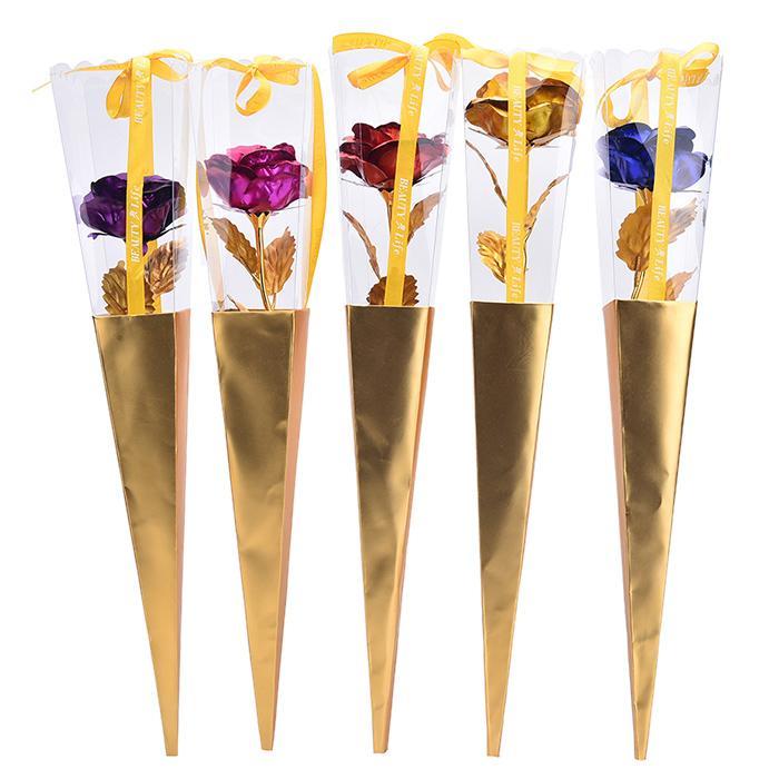 24K Foil Valentinstag Geschenk Artificial überzog Rosen-Blumen-Liebe-Rosen-Mutter Tages Geschenk-Urlaub Hochzeit Dekoration