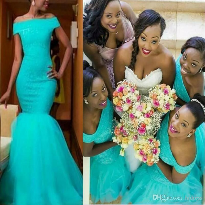 2021 Country Mermaid Turquoise African Bridesmaid Dresses Off The Shoulder Plus Size Lace Maid of Honor Bridal Party Wedding Guest Gowns