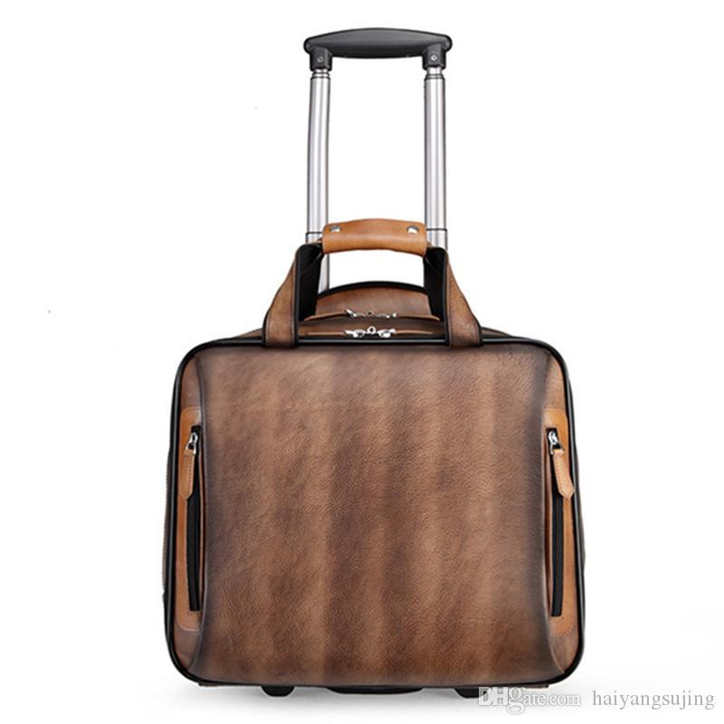 Retro genuine leather men trolley case business wheel suitcase bag cowhide first layer of travel handbag man luggage laptop briefcase bags