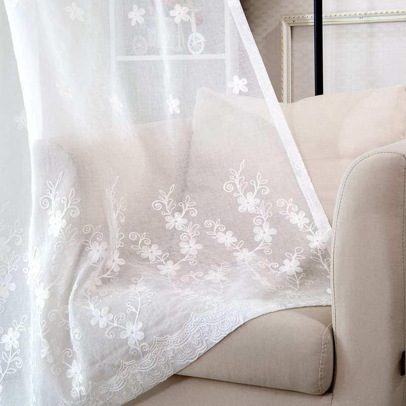 cortinas bordado de gama alta para vivir comedor Dormitorio Dormitorio rural cortina de algodón de lino Cortina personalizada