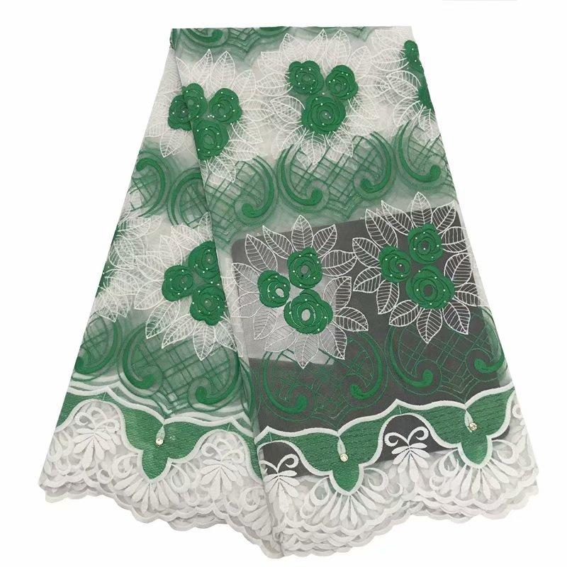Yeşil Beyaz Düğün Elbise Için Afrika Dantel Kumaş Yüksek Kalite Rhinestones Ile Fransız Dantel Kumaş Moda Nijeryalı Dantel Kumaş