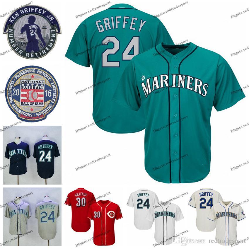 NCAA Hommes Vintage 2016 Hall Of Fame 24 Ken Griffey Jr. Teal Baseball Jersey 30 Ken Griffey Jr. Chemises rouges Patch retraite