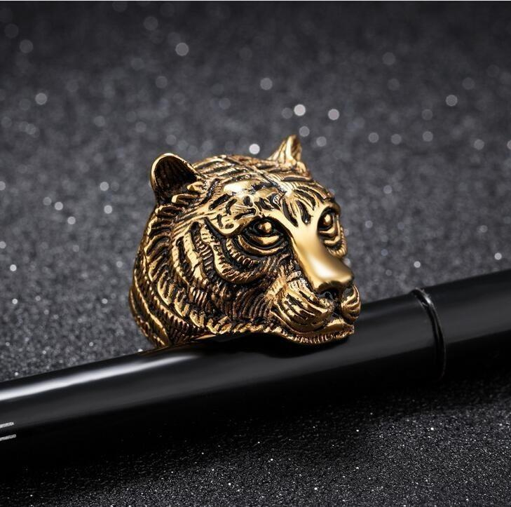 Tiger Head Big Ring for Mens Vintage Punk Retro Gold/Black/Silver Finger Gothic Ring Men Jewelry