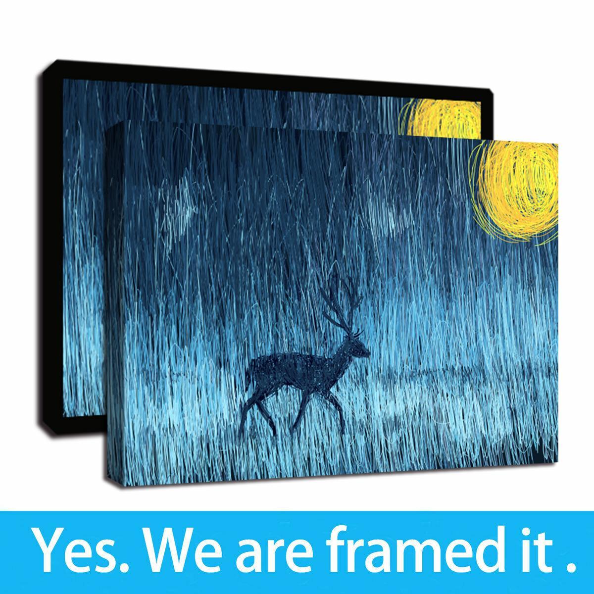 Печать холст Фото ванной Декор стены Абстрактный Starry Night Moon Elk животных Картина Дир Холст Обрамлено готовы повесить