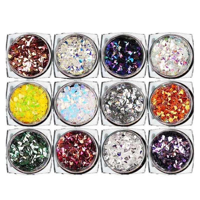 12 diamantes de caixa brilhando dicas prego adesivo lantejoulas coloridas Nail Art X9053 5Up
