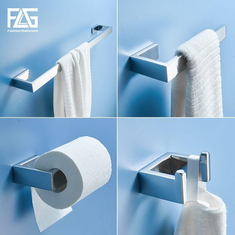 FLG 스테인레스 스틸 크롬 목욕 하드웨어 하드웨어 타올 바 로브 후크 종이 홀더 욕실 액세서리 세트 Banheiro