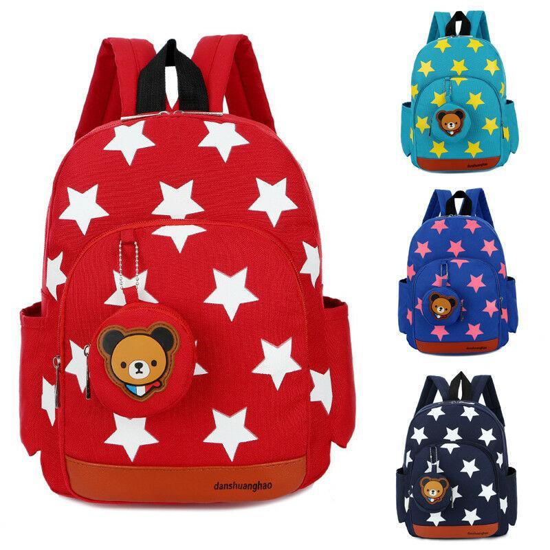 Los niños de los niños Niños mochila escolar Mochila Bolsas Estrella patrón de la bolsa muchachos de las niñas de la cremallera libro Schoolbags