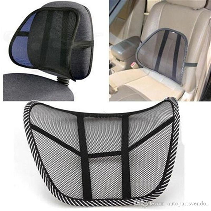 Cool Vent Massage Cushion Mesh Back Lumber Support Office Chair Car Seat Pad Car Interior Seat Cushion Black New Auto Care
