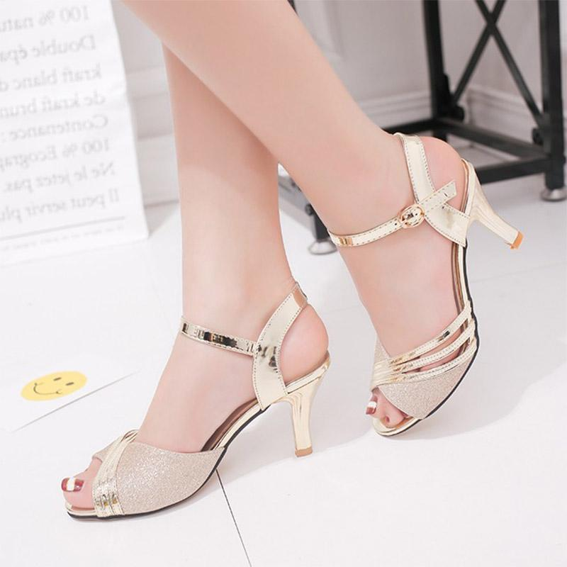 Frauen Sandalen 2019 Sommer-Schuh-Frauen-Kleid-Schuhe Bling Weddging Schuhe Silber-Absatz-Pumpen-Damen zapatos mujer 7217