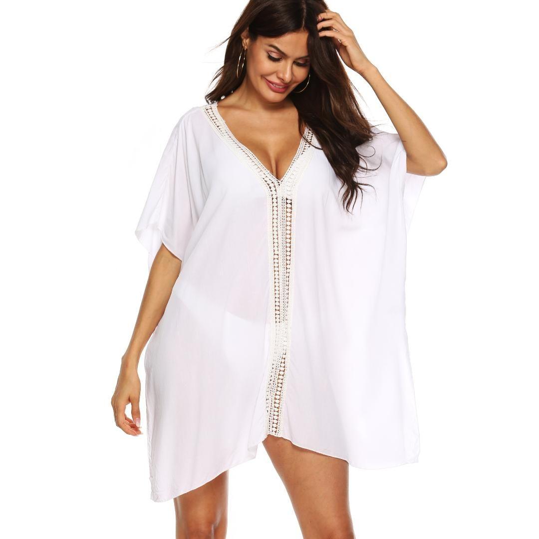 Projeto simples Popular Mulheres Sexy Swimsuit Cover Up Algodão Branco Beach Dress Tampa Lady Dolman mangas Pareo Sarongs Bikini túnica
