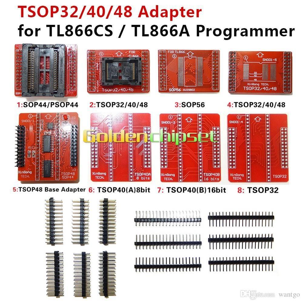 8 pz / lotto Adattatori originali TSOP32 TSOP40 TSOP48 SOP44 SOP56 Kit adattatore per MiniPro TL866 TL866A TL866CS Programmatore universale freeshipping