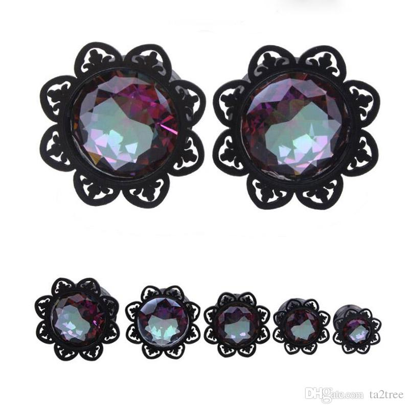 Wholesale Black Diamond Style Ear Piercing Plugs and Tunnels Ear Expander Anti-Allergy Body Piercing Studs For Man and Woman