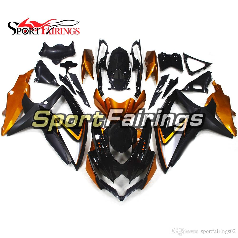 Full Fairings For Suzuki GSXR600 K8 2008 2009 2010 GSXR750 08 09 10 ABS Plastic Motorcycle Fairing Kit Body Work Black Metallic Gold Covers