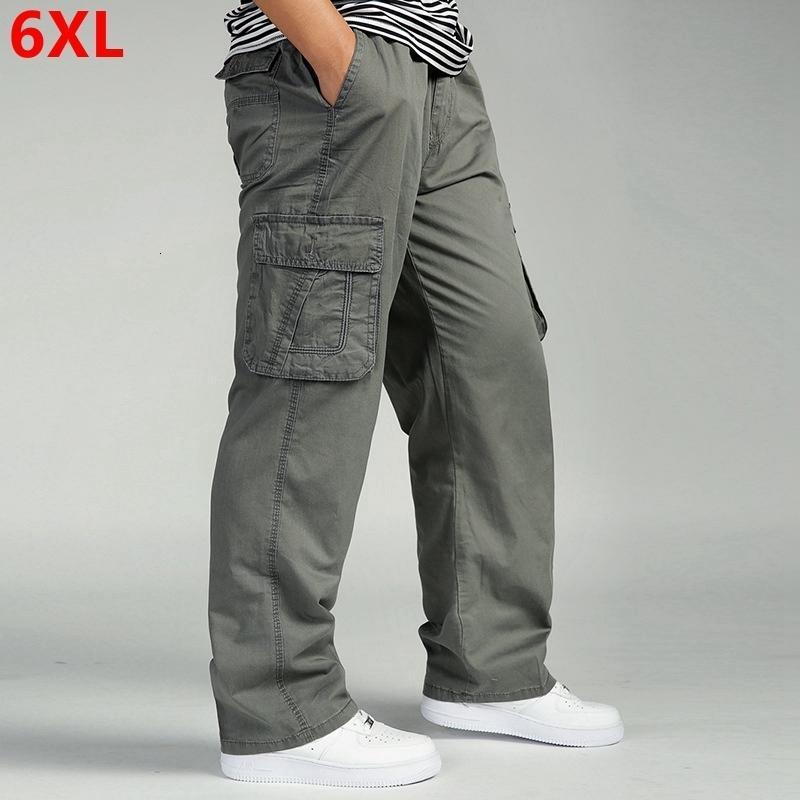 pantaloni casual cotone degli uomini tuta elastica della vita multi-tasca len piena, più fertilizzanti XL vestiti grande dimensioni pantaloni cargo uomini CJ191201