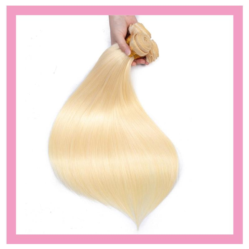 Indian Human Hair Blonde Straight 613# Blonde Two Pieces/lot Double Wefts Dyed Color 10-30inch Hair Extensions 2 Bundles