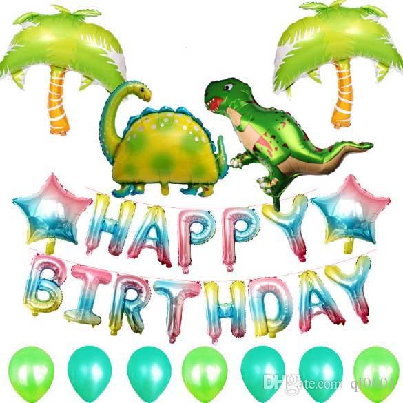 Juego de globos de feliz cumpleaños para dinosaurios Juego de globos con letras de corazón de helio Globo de papel de aluminio Decoración de fiesta de cumpleaños Parque jurásico LH009