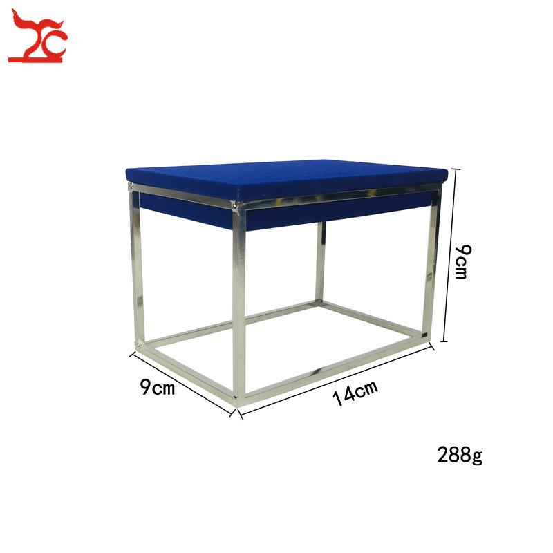 Silver Stainless Steel Jewelry Shop Window Display Shelf Jewelry Counter Display Cabinet Blue Velvet Bracelet Ring Display