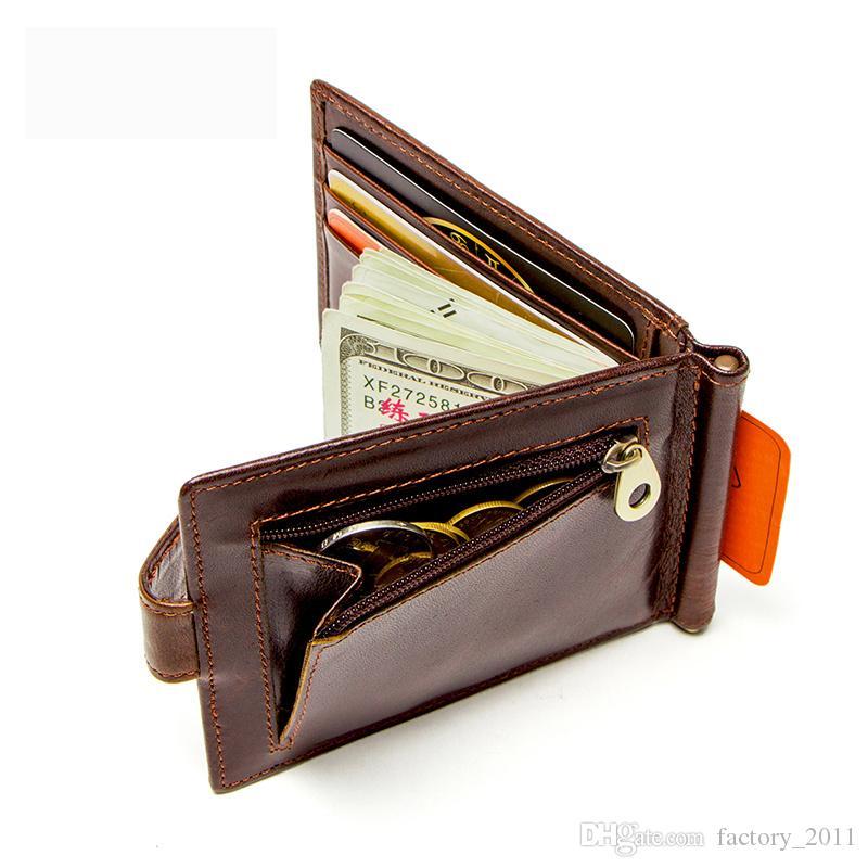 소 가죽 현금 정품 지갑 얇은 돈 클램프 남자 지갑 남성 Bifold 신용 카드 우편 동전 포켓 최고 품질 뜨거운 판매 1016