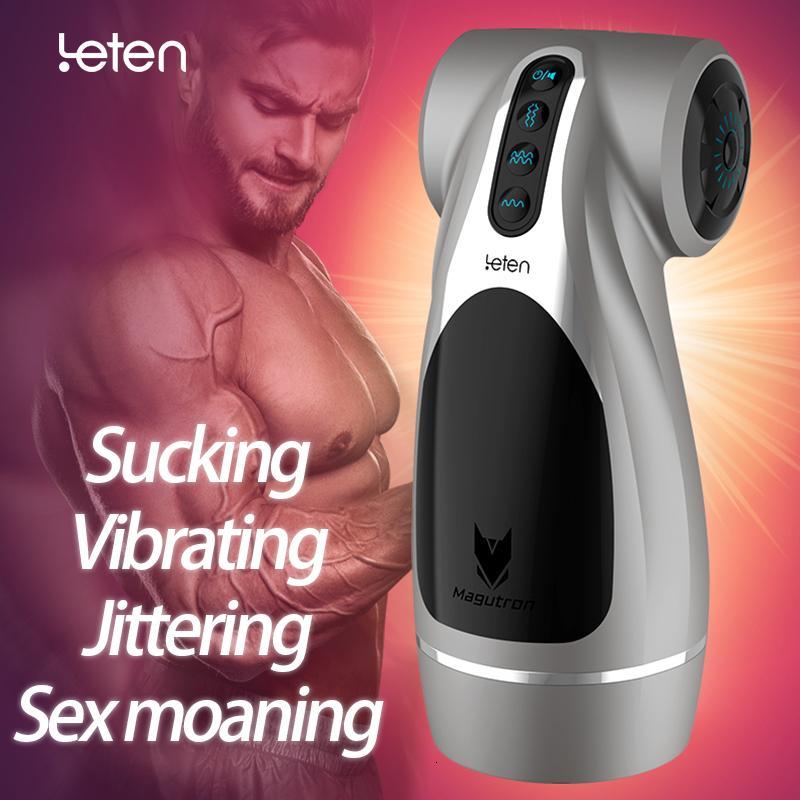 Leten Hip automatico Vaginale Masturbator maschio Jitter Vibrazione succhia Moan 4 Funzioni di Sex Machine vibrazione giocattolo adulto del sesso per gli uomini Y191010