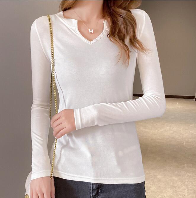 T-shirt manches longues femmes T-shirt Femme 2020 Printemps Automne Mesdames Hauts T-shirt Femme Taille Plus 2XL Blanc Noir CL219