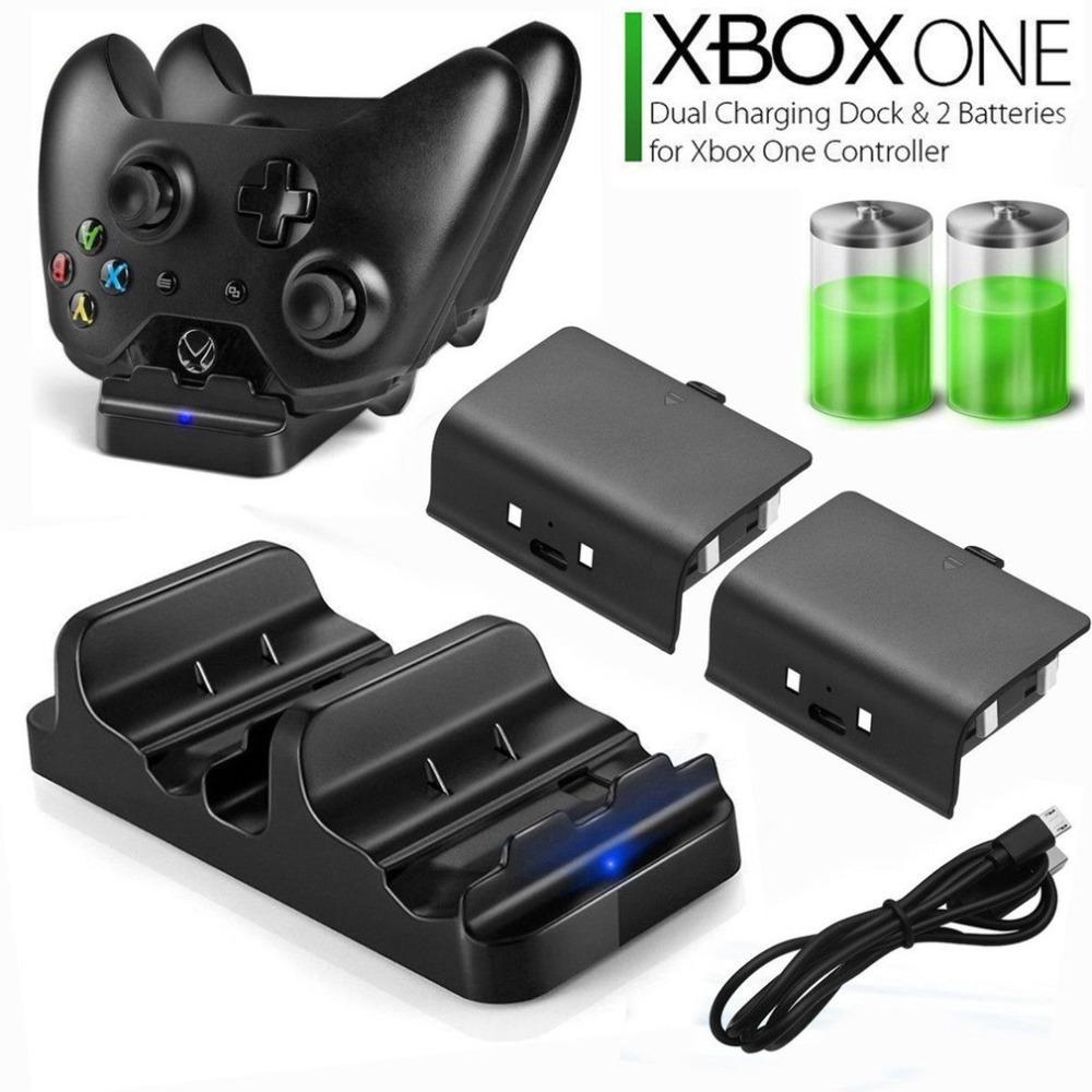 Fast Charger for XBOX ONE Controller Dual Charging Dock Charger + 2pcs Rechargeable XBOX ONE Controller Battery Stander