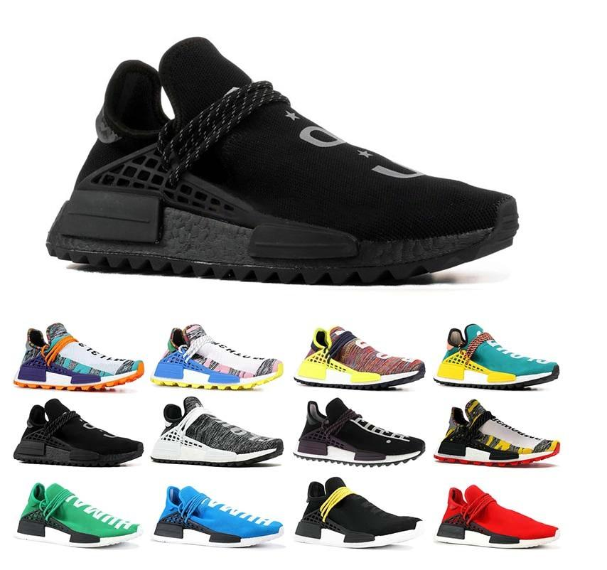 Human Race 3.0 Hommes Designer Running Shoes 2019 Femmes Casual Pharrell Williams robe noire Chaussures de sport Chaussures Sneakers US5-11