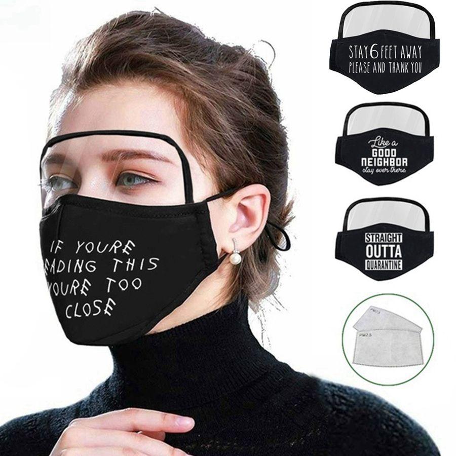 2 Em uma máscara facial com olho Escudo Dustproof lavável algodão Mask Bicicleta reutilizável face rosto escudo de protecção Com 2pcs filtra RRA3249