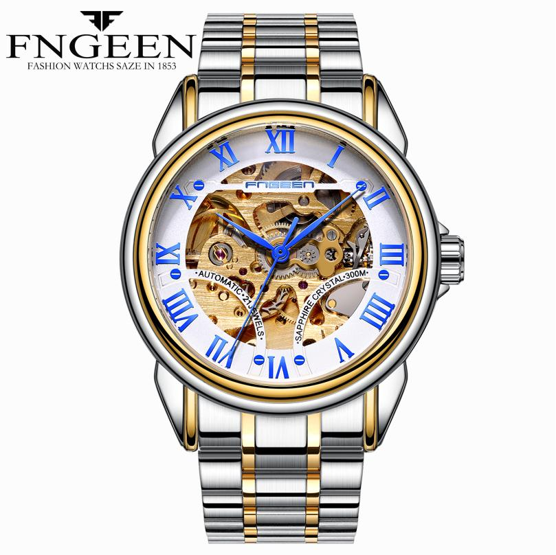 FNGEEN reloj de los hombres Reloj mecánico esquelético de los hombres de negocios mano de acero inoxidable reloj de oro reloj hombre