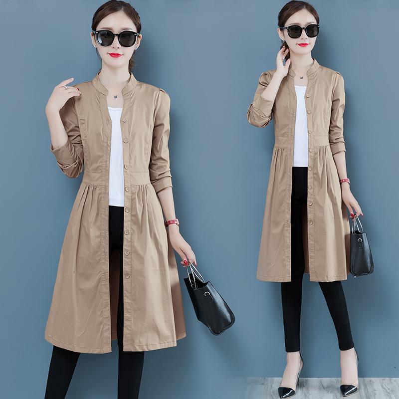 Primavera Autunno Moda Trench Coat Donne lungo Windbreaker formato più sottile maniche lunghe Trench Mujer Casaco Feminino cappotto femminile