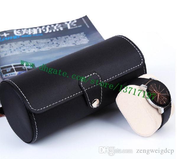 Haut Grade Noir Mono Eclipse en toile enduite en cuir 3 CASE WATCH M43385 Designer réel Montre Porte-Calfskin en forme de cylindre