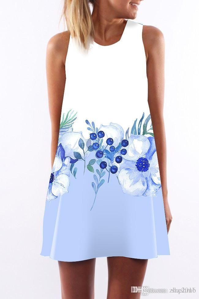 Las mujeres se visten de cuello redondo sin mangas atractivo de la honda de la cadera impresión del abrigo elegante de señora blanco Azul digital de la flor falda lápiz vestidos casuales S-XL