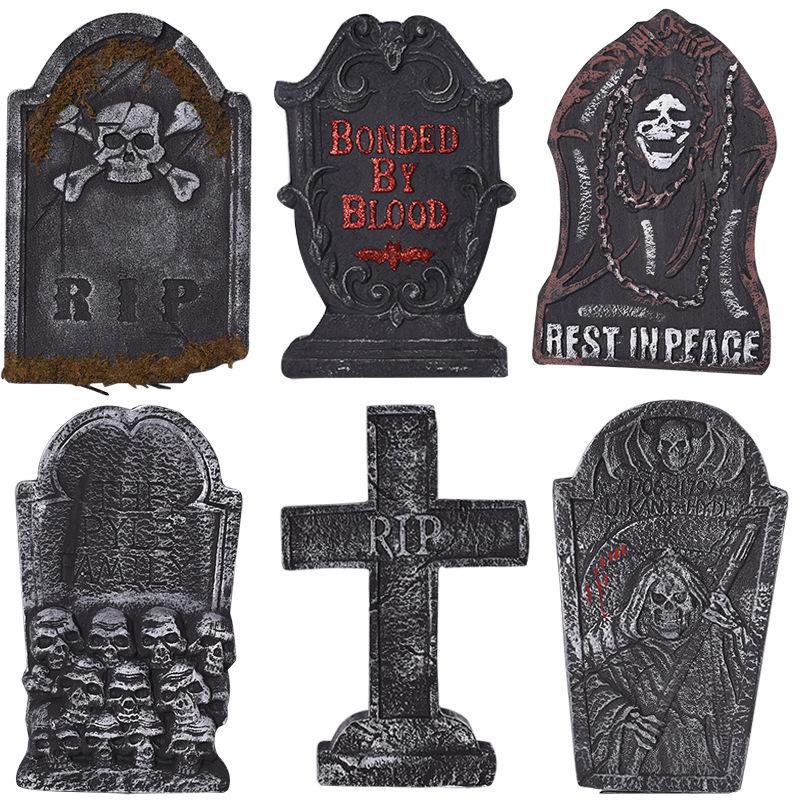 Fantasma de Halloween Festival Decoração Tombstone Haunted House Bar Set Bolha Tombstone Decoração Sepultura Placa de manifestação Fotografia Props