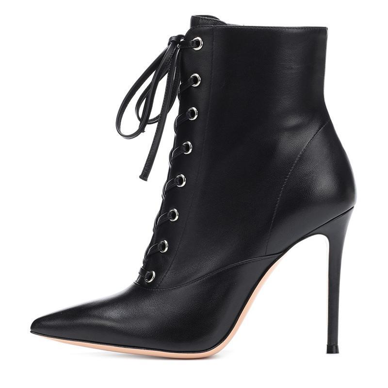 Plus Size 48 Bottines mince Escarpin à lacets femmes Bottes point Toe Fétiche Femmes Chaussures Sexy Party Blanc Noir Chaussures pour femmes
