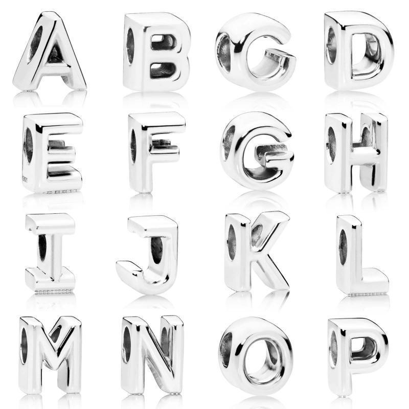 Alphabet Letter A Z Charm 925 Silver Vintage for Charm Bracelet