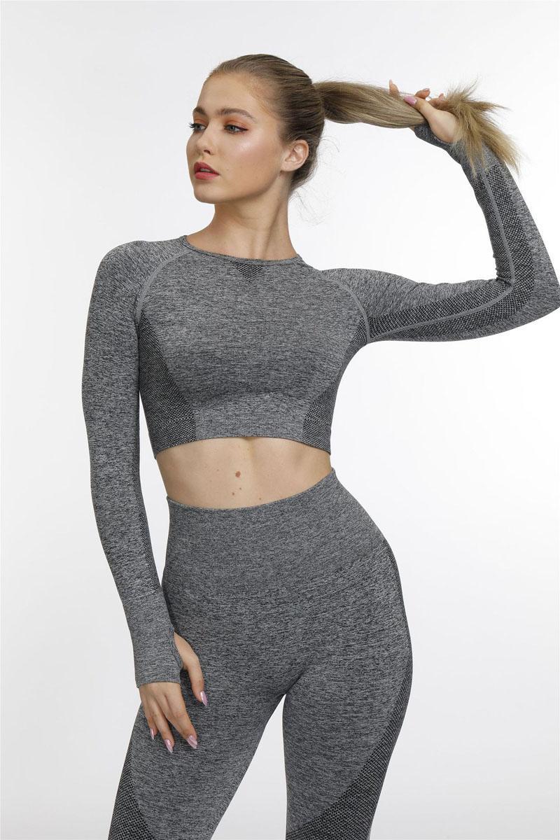 여성 엑티브 운동 요가 체육관 최고 라운지 T 티 셔츠 크기 긴 소매 자르기 탑 (S M L)