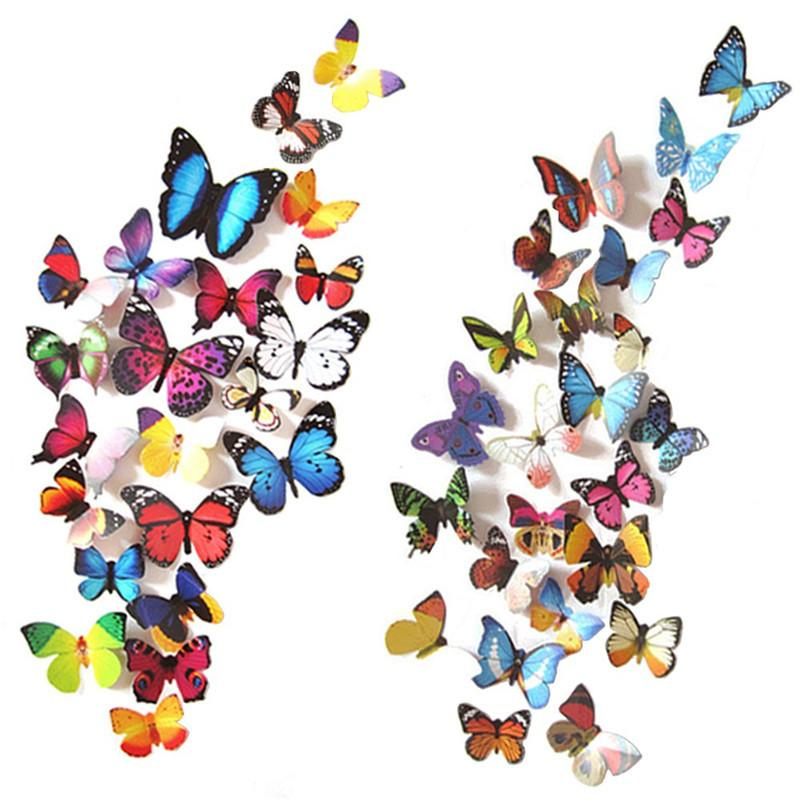 12 Pcs/Lot 3D Butterfly Wall Stickers Wall Decals for Home Decor Wedding Birthday Christmas Stickers
