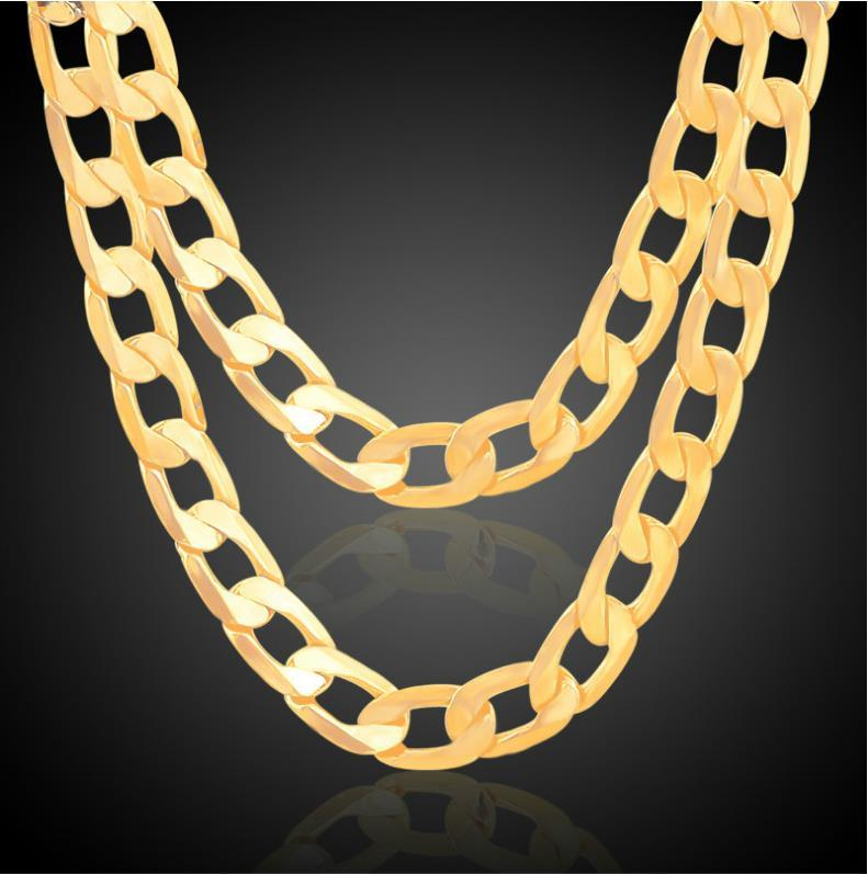 Hot Sales 18K Real Gold Plated Men/Women 7MM/10MM/12MM 1+1 Figaro Chain Hip-hop Necklaces Fashion Costume Necklaces Jewelry Wholesale
