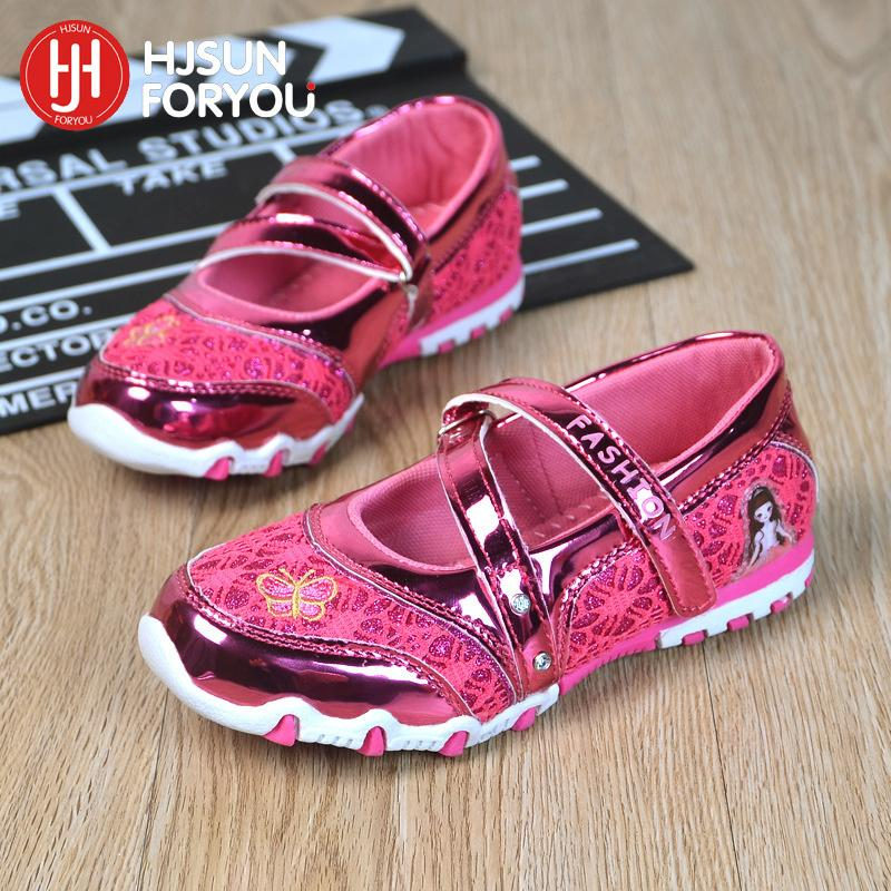Children Casual Shoes Brand Girls Hook Shinning Sport Shoes Fashion Sandals Baby Hot Cartoon Sneakers Soft Princess Shoes Y19051303