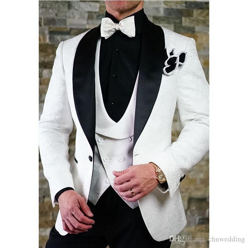 Custom White Slim Fit Men Suits Wedding Groom Tuxedos with Floral 3 Pieces (Jacket+Pants+Vest) Best Man Prom Wear Blazer