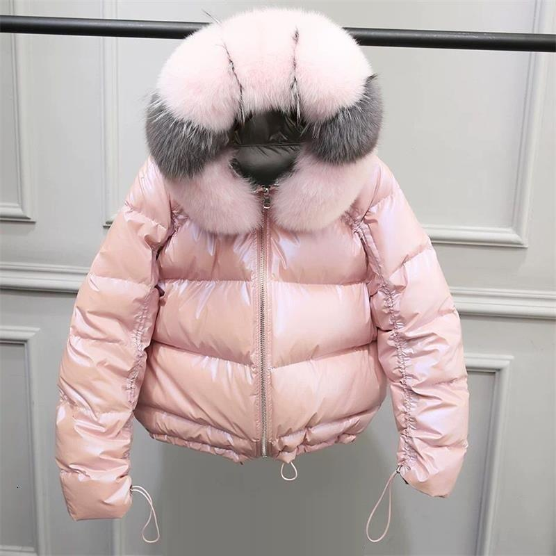 col de fourrure naturelle vison Manteaux d'hiver 2019 femmes Nouveau Mode Manteau de fourrure rose élégant vêtement chaud Fausse veste de la fourrure Chaquetas Mujer SH190930