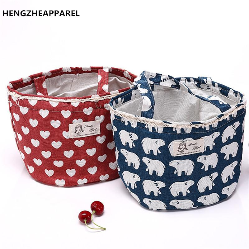 Women Insulation Lunch Package Portable Canvas Lunch Bags Thermal Insulated Tote Picnic Cooler Box Student Round Large Handbags