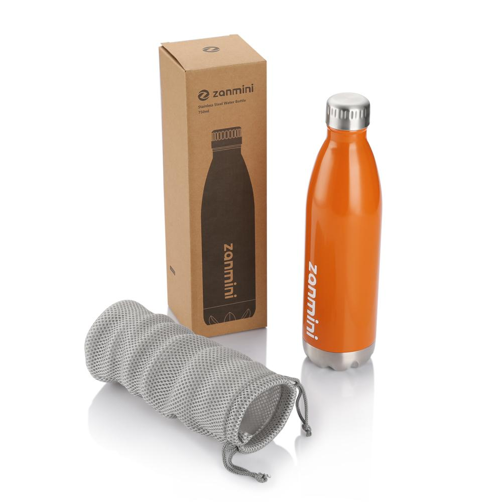 Zanmini Double Wall Insulated 500ML/750ML Outdoor Sports Stainless Steel Drink Water Cup Beer Cola Thermos termos Collapsible Y200107